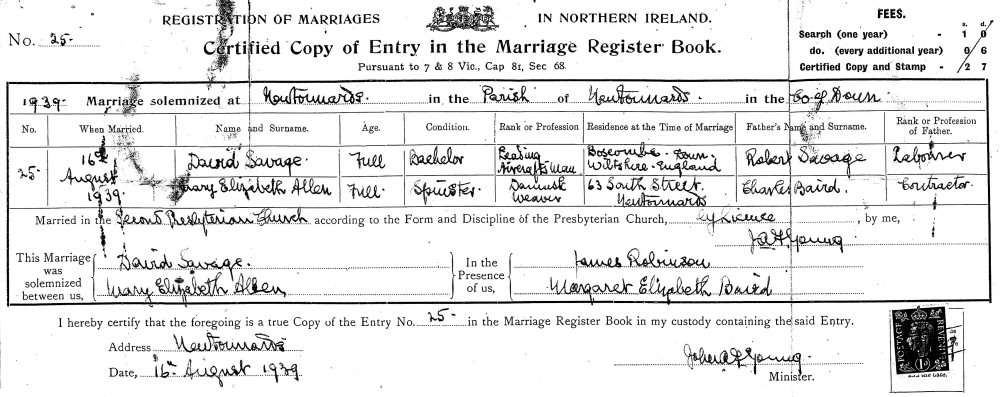 Documents: David (Davy) SAVAGE to Mary Elizabeth (May) ALLEN ...