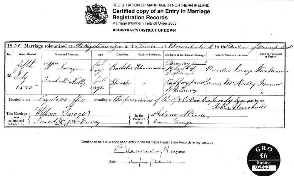Documents William Savage To Sarah Mcneilly Certified Copy Of